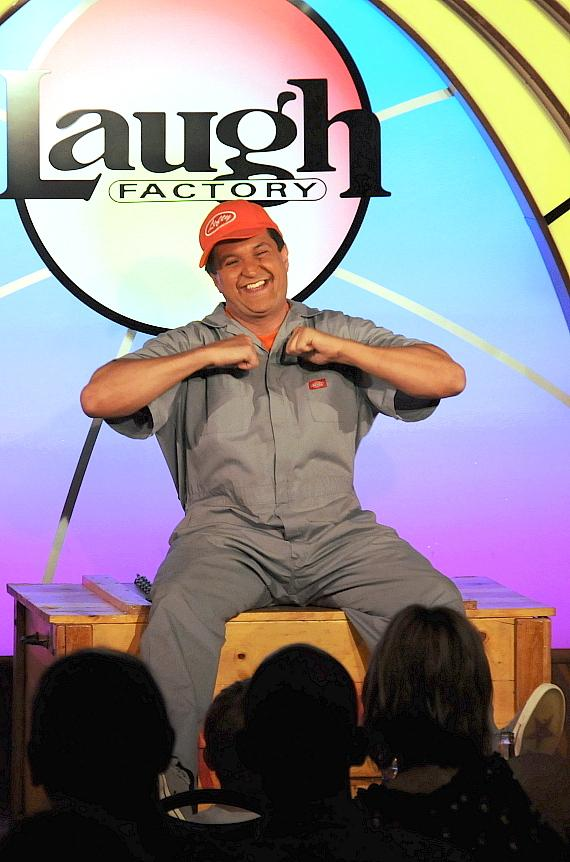 "Murray SawChuck performs the ""Surprise Crate Illusion"" in 'MURRAY Celebrity Magician"" at The Laugh Factory in Tropicana Las Vegas"