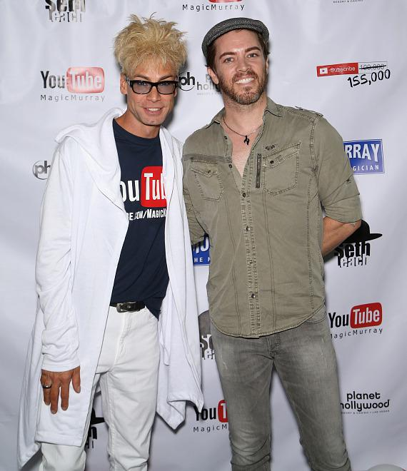 """Murray SawChuck with JD Scott of """"The Property Brothers"""" at his 100,000 YouTube Silver Creator Award Party in Las Vegas"""