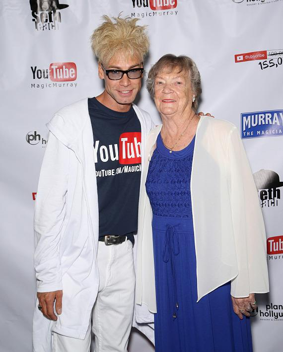 Murray with his Mom, Arlene Sawchuk, at his 100,000 YouTube Silver Creator Award Party in Las Vegas