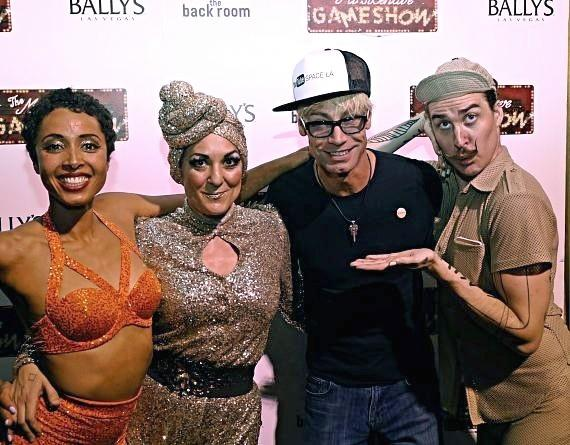 Murray Sawchuck with cast members of the Miss Behave Gameshow