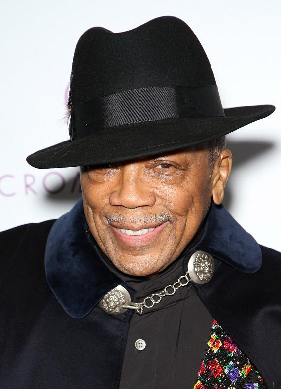 Music Producer Quincy Jones Arrives at Drai's Nightclub Las Vegas feat. Chris Brown__Credit