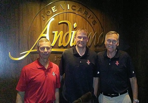 NBA Houston Rockets Head Coach Mike D'Antoni (r) and members of Rockets staff dine at Andiamo Italian Steakhouse inside the D Casino Hotel Las Vegas