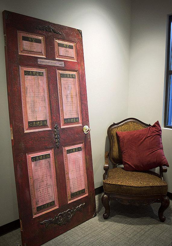 The 'Pink Door' room contains a special door adorned with hopeful quotes that serves as a motivational piece to others encountering a new journey in healing