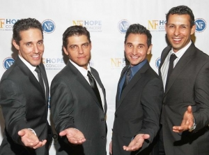 ars of the JERSEY BOYS give a signature pose during the NF Hope Concert VIP event