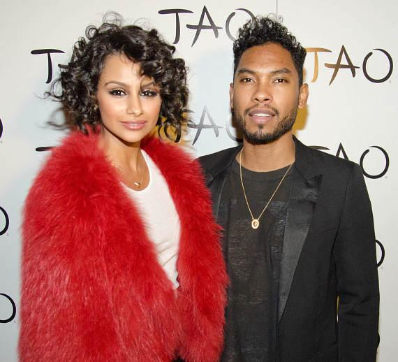Nazanin Mandi and Miguel on TAO Red Carpet