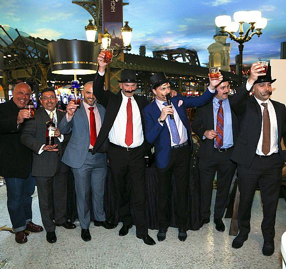 "Legendary mixologists Tony Abou-Ganim ""The Modern Mixologist,"" Eddie Perales, Francesco Lafranconi, Livo Lauro and friends toast to the World's Largest Barrel-Aged Negroni."