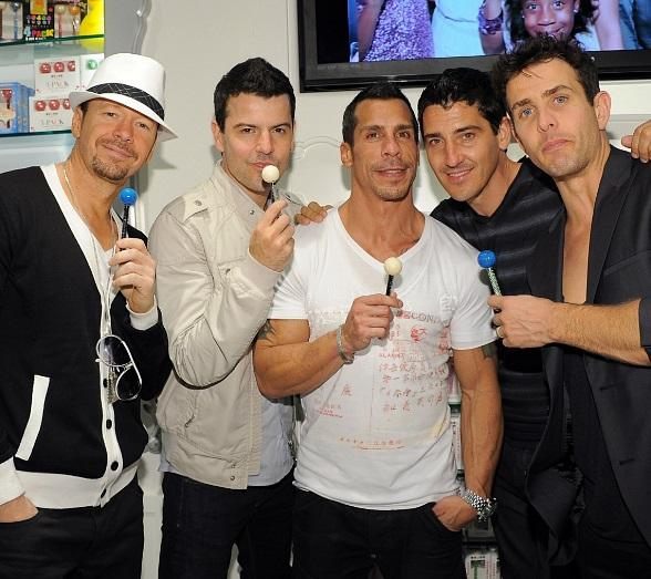 New Kids on the Block (L to R: Donnie Wahlberg, Jordan Knight, Danny Wood, Jonathan Knight and Joey McIntyre) at Sugar Factory at Paris Las Vegas