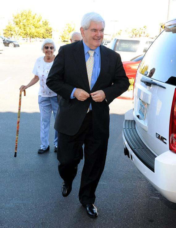 Newt Gingrich arrives for book signing at Barnes & Noble on W. Charleston in Las Vegas