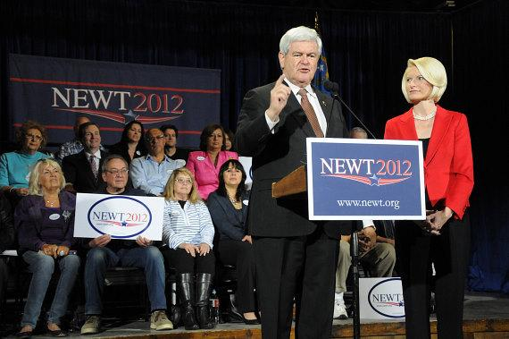 Newt Gingrich and wife Callista at Stoney's Rockin' Country in Las Vegas