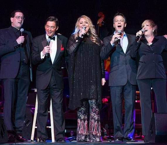 """The Next Generation cast, (from left to right: Lewis, Martin, Prima, March-Torme and Luft) take the stage together for the first time ever to perform """"Smile."""""""