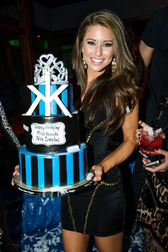 Nia Sanchez with Birthday cake at Hakkasan Las Vegas Ling Ling Club