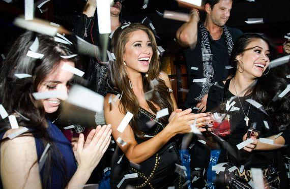 Nia Sanchez with confetti at Hakkasan Las Vegas Ling Ling Club