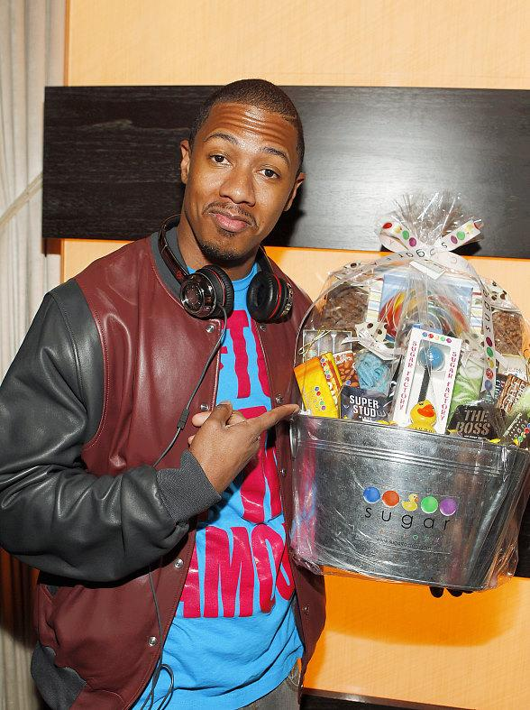 Nick Cannon with a Sugar Factory Father's Day gift basket