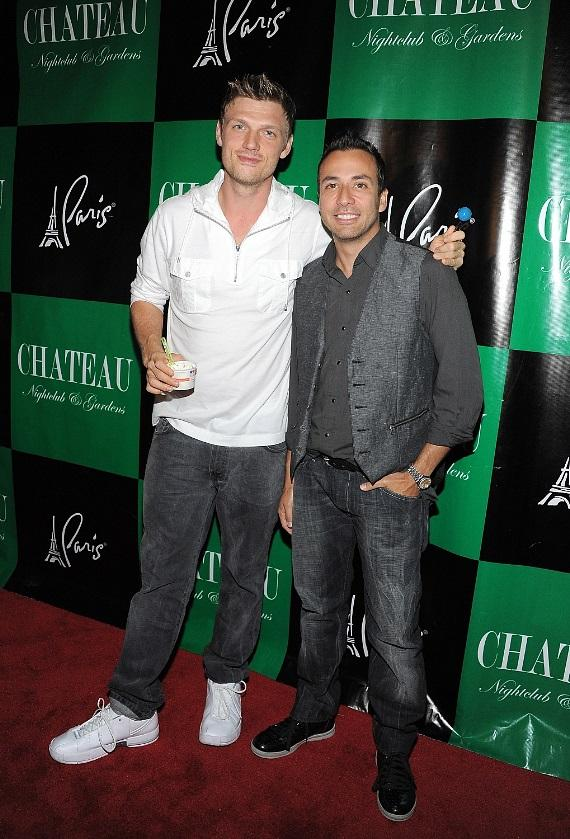Nick Carter and Howie Dorough arrive at Chateau Nightclub & Gardens at Paris Las Vegas