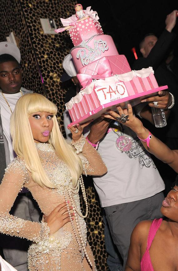 Nicki Minaj with birthday cake at TAO in Las Vegas