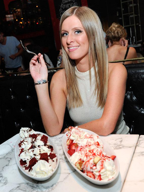 Nicky Hilton indulges in red velvet and strawberry cheesecake ice cream sundaes at Sugar Factory American Brasserie