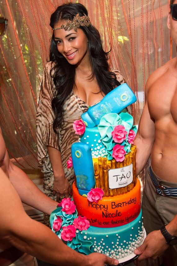 Nicole Scherzinger with birthday cake at TAO Beach