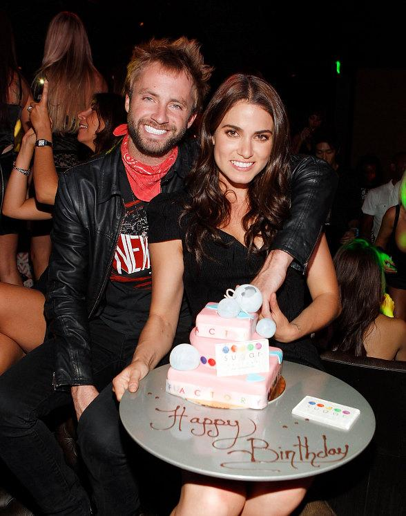 Nikki Reed and Paul McDonald with her birthday cake at Gallery Nightclub