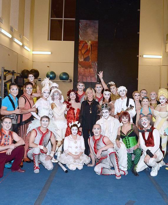Olivia Newton-John with cast of Zarkana by Cirque du Soleil at ARIA Resort & Casino