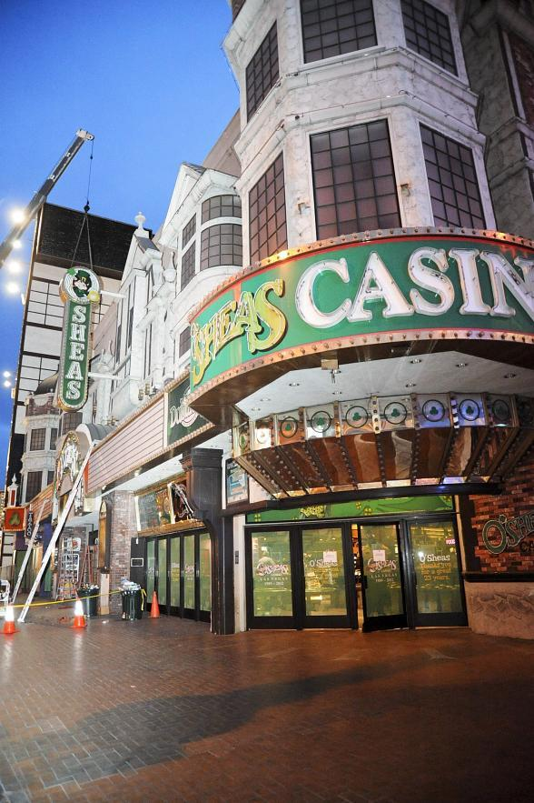 Iconic exterior signs removed from O'Sheas Casino in Las Vegas