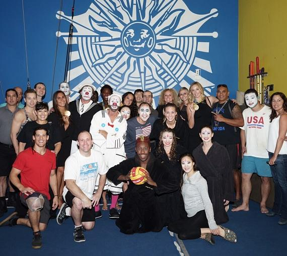 Olympic Gold Medalists with the cast of 'O' by Cirque du Soleil