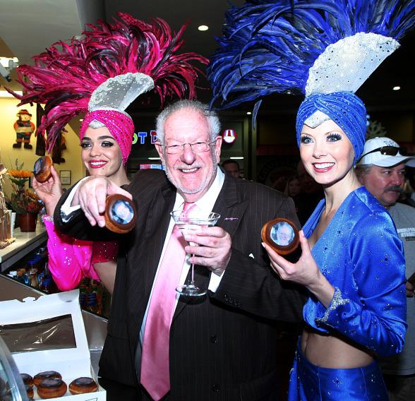 Oscar Goodman shows off custom Krispy Kreme donuts at Castle Walk Food Court
