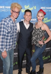 "Magicians Murray SawChuck and Chloe Crawford visit ""The Mike Hammer Comedy Magic Show"" at Four Queens Hotel & Casino in Las Vegas"