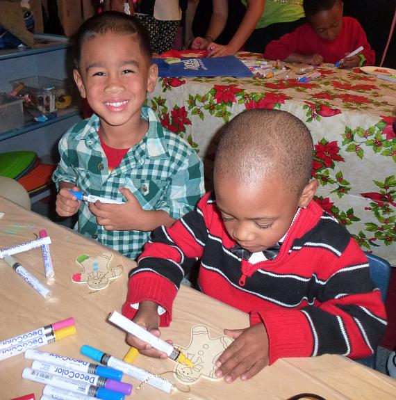 Children making ornaments at the BOBS from Skechers event at  Variety Early Learning Center