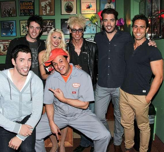 Brothers Jonathan, Drew and JD Scott with Murray, Chloe and Lefty at The Laugh Factory in Tropicana Las Vegas