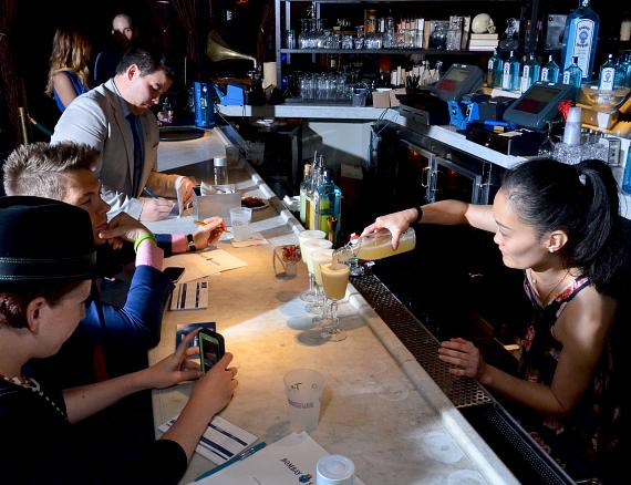 """Juyoung Kang serves her winning cocktail recipe, """"The Lacy Fizz"""""""