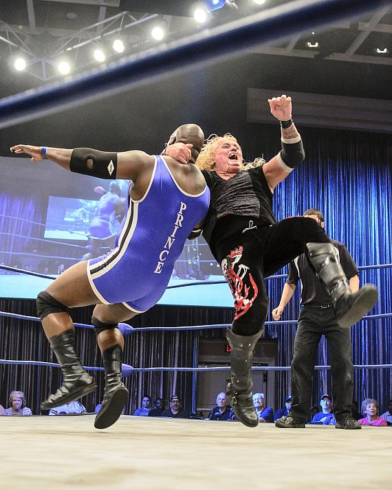 Tyshaun Prince and Gangrel at Paragon Pro Wrestling's event at Sam's Town Live on May 5, 2015