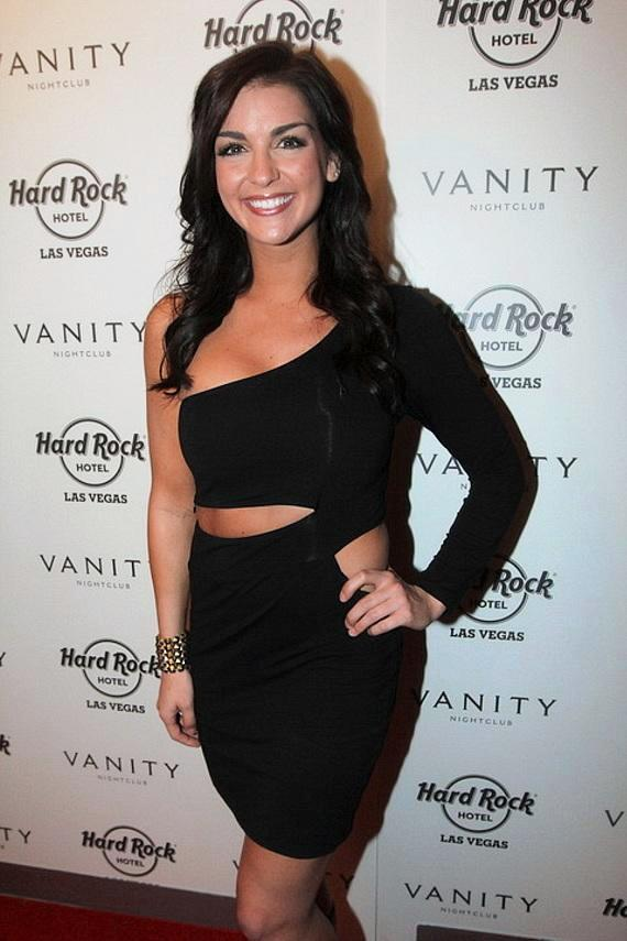 Paige Duke on red carpet at Vanity Nightclub in Hard Rock Hotel & Casino