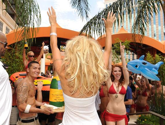Pam Anderson and her birthday celebration at TAO Beach