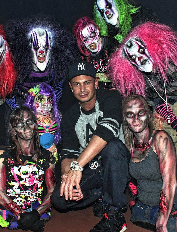 DJ Pauly D, CSI Stars Jorja Fox, Lilly Watson & Elisabeth Hamois and PBR Rider Brendon Clark at Fright Dome