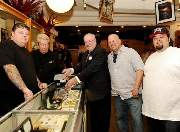 """The Old Man"" Harrison, the Mayor, Rick Harrison and Chumlee"