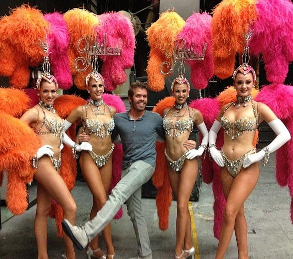 Perez Hilton with Jubilee! Showgirls at Bally's Las Vegas