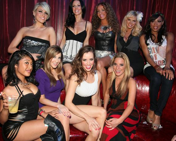 Lorena Peril with friends at LAX Nightclub's VIP table before her performance