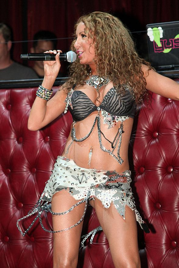 Lorena Peril shows off her moves to the crowd at LAX Nightclub