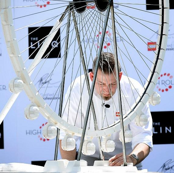Adam Reed Tucker assembles a LEGO model of the High Roller at The LINQ in Las Vegas