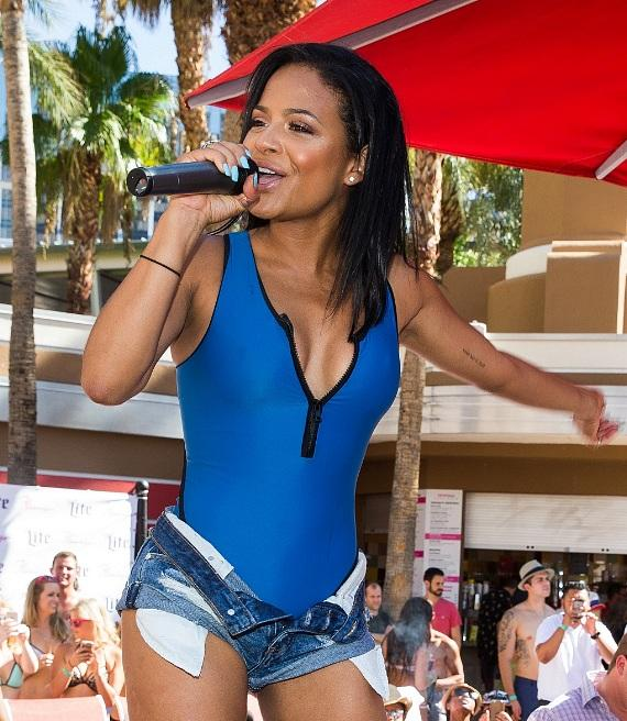 Christina Milian performs at Flamingo GO Pool