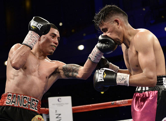 """Emilio """"The Kid"""" Sanchez (15-0, 10 KOs) of Pacoima, CA proved himself to be an expert counterpuncher in this featherweight fight against Ciudad Juarez, Mexico's Jose """"Flash"""" Bustos"""