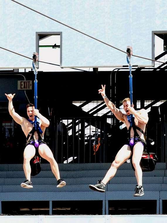 Aussie Hunks fly on the SlotZilla Zipline