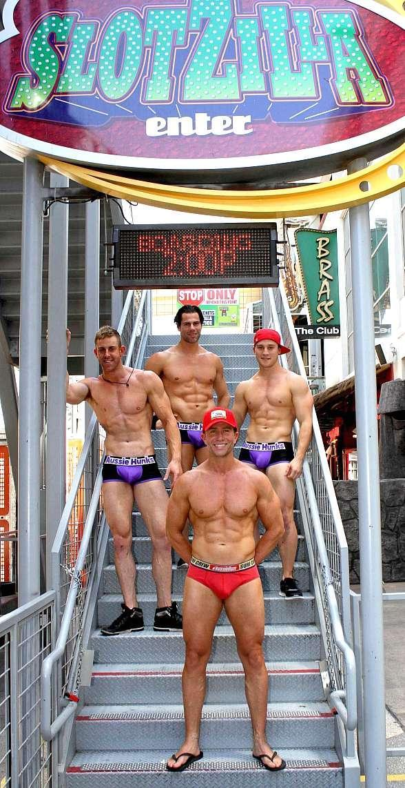 Aussie Hunks, the Latest Male Hip Hop Revue, Get Introduced to Fremont Street Experience on SloZilla's Zipline