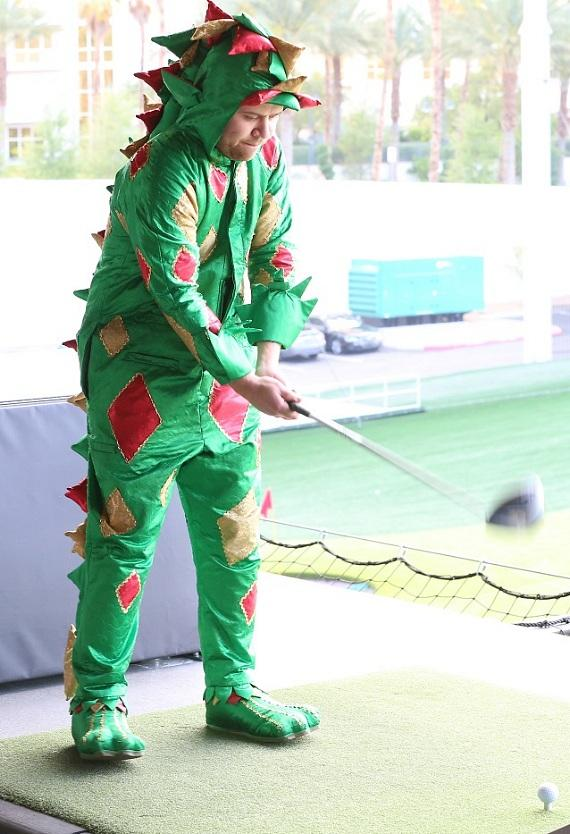 Piff the Magic Dragon plays golf at Topgolf