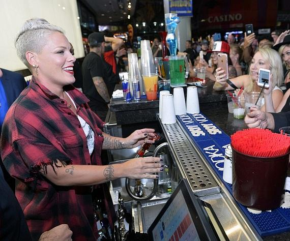 Pink bartending at The D Las Vegas D Bar
