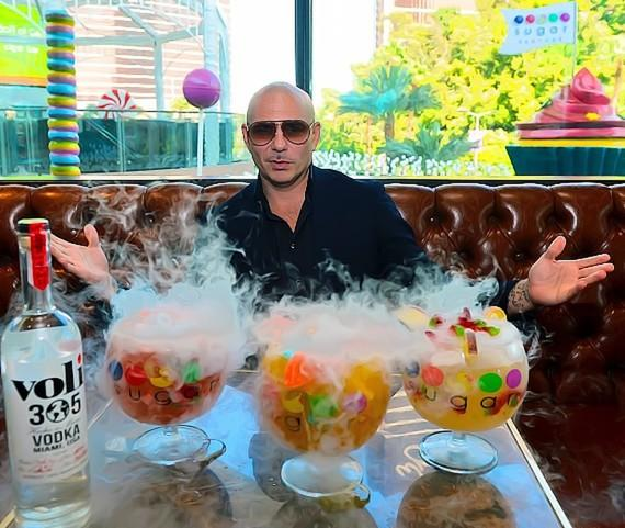 PitBull in Chocolate Lounge at Sugar Factory with Voli 305 new signature goblets.