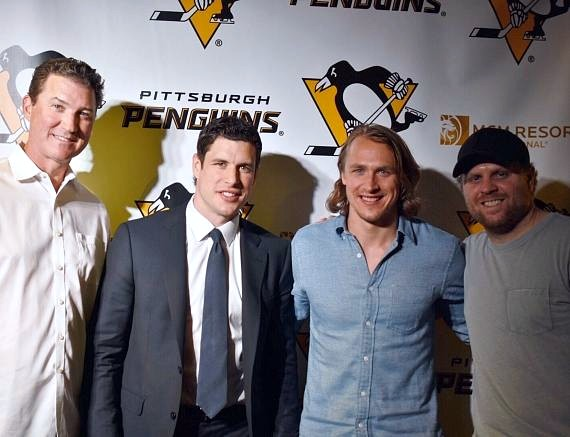Pittsburgh Penguins players at Beerhaus at The Park