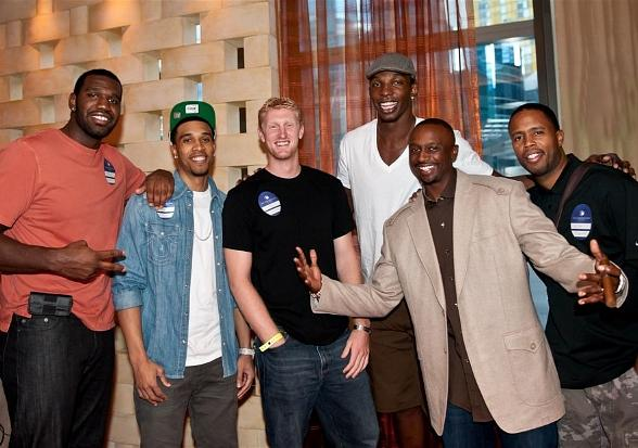 Greg Odom (Trailblazers), Richard Jefferson (San Antonio Spurs), Chase Budinger (Houston Rockets), Hasheem Thabeet (Houston Rockets), Jason Terry (Dallas Mavericks) and Damon Jones (formerly of the New Jersey Nets, Dallas Mavericks, Miami Heat and others).
