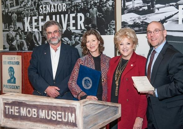 Jon Rubin, Diane Kefauver, Mayor Carolyn G. Goodman and The Mob Museum's Executive Director Jonathan Ullman
