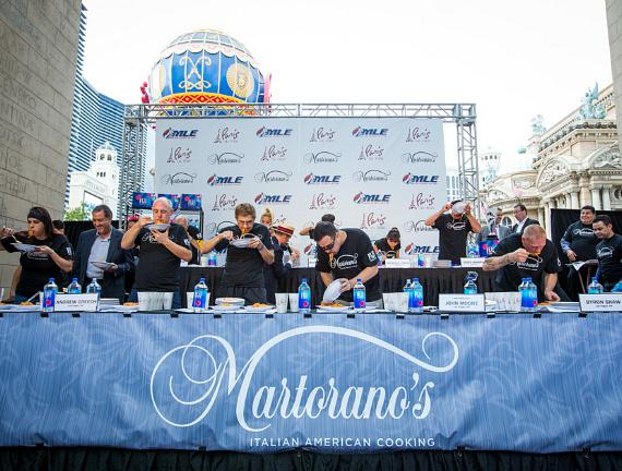 Twelve professional eaters compete at The Martorano's Masters World Pasta Eating Championship at Paris Las Vegas